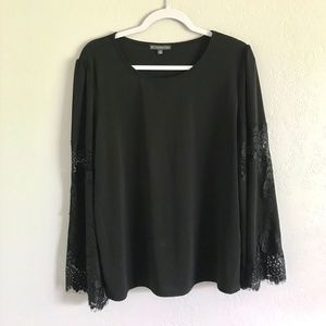 Adrianna Papell Black Bell Sleeve Lace Top